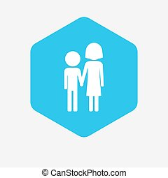 Isolated hexagon with a childhood pictogram