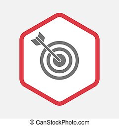 Isolated hexagon with a dart board - Illustration of an...