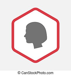 Isolated hexagon with a female head