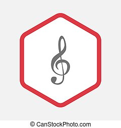 Isolated hexagon with a g clef - Illustration of an isolated...