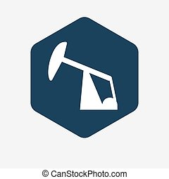 Isolated hexagon with a horsehead pump - Illustration of an...