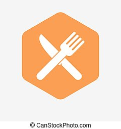 Isolated hexagon with a knife and a fork