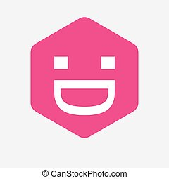 Isolated hexagon with a laughing text face