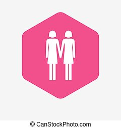 Isolated hexagon with a lesbian couple pictogram