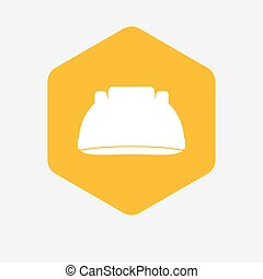 Isolated hexagon with a work helmet