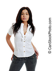 Hispanic woman wearing black jeans