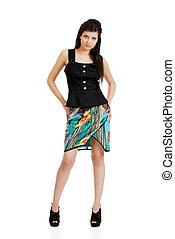 hispanic woman with hands on hips - isolated hispanic woman ...