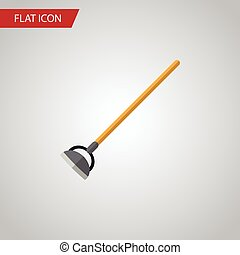 Isolated Hoe Flat Icon. Tool Vector Element Can Be Used For Hoe, Tool, Gardening Design Concept.