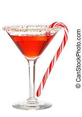 Holiday martini with a candy cane - isolated Holiday martini...
