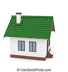 Isolated home on white. 3D rendering.