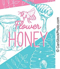 Isolated Honeycomb Sketched Poster with Bees and Honey