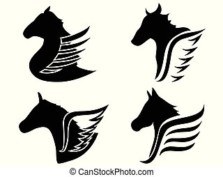 horse head wings icon symbol