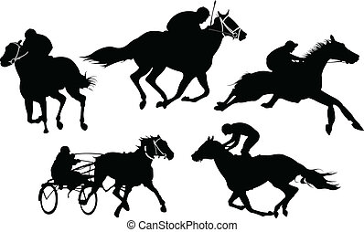 Isolated horse racing silhouettes. Vector illustration.