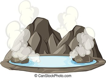 Isolated hot springs on white background illustration