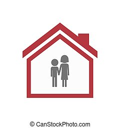 Isolated house with a childhood pictogram