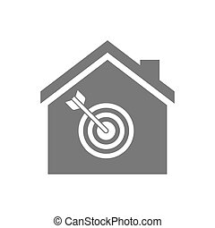 Isolated house with a dart board - Illustration of an...