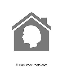 Isolated house with a female head