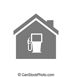 Isolated house with a gas station