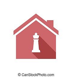 Isolated house with a  king   chess figure