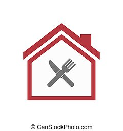Isolated house with a knife and a fork