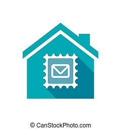 Isolated house with  a mail stamp sign