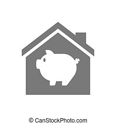 Isolated house with a pig