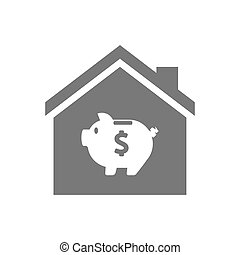 Isolated house with a piggy bank