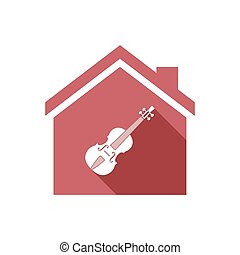 Isolated house with a violin
