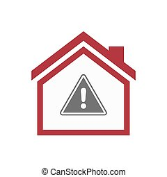Isolated house with a warning signal