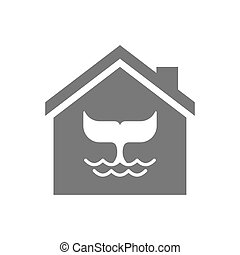 Isolated house with a whale tail