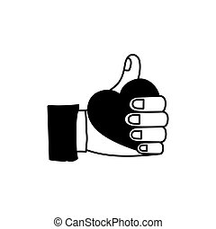 Isolated human hand holding heart design