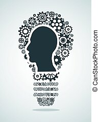 human head in Gears forming a light bulb