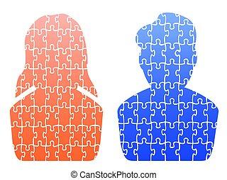 human head jigsaw patterns