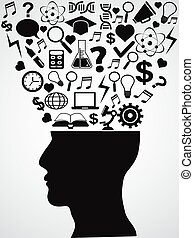human head with creative ideas