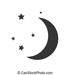 isolated., icône, lune, vecteur