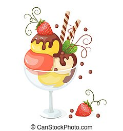 isolated ice cream on white with strawberry - Vector...