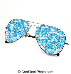 isolated ice sunglasses in white background