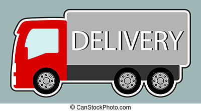 delivery truck with red cabin