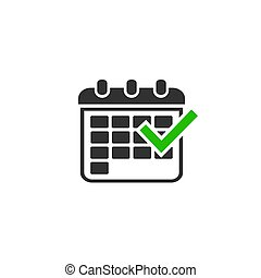 Isolated Icon of Calendar with green tick. Vector ...