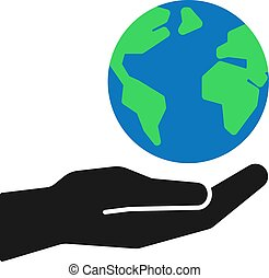 Isolated icon of green planet, earth in black hand on white background. Color globe and hand. Symbol of care, protection. Save planet. Flat design