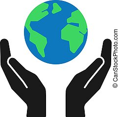 Isolated icon of green planet, earth in black hands on white background. Color globe and hands. Symbol of care, protection. Save planet.