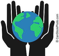 Isolated icon of green planet, earth in black open hands on white background. Color globe and hands. Symbol of care, protection. Save planet.