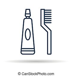 Isolated icon of Toothpaste and brush