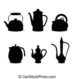 isolated icon silhouette Kettles,VECTOR