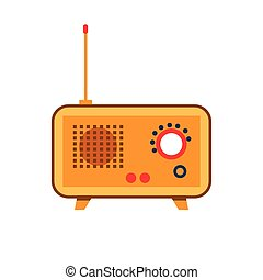 Isolated icon vintage old radio with antenna, switches, levers in flat style on a white background with dark red, red and orange.