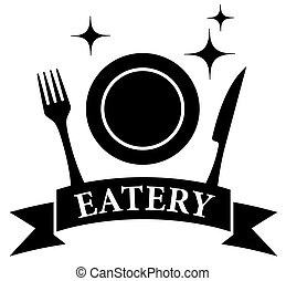 kitchen ware on black eatery symbol