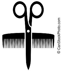 icon with scissors and comb - isolated icon with scissors...