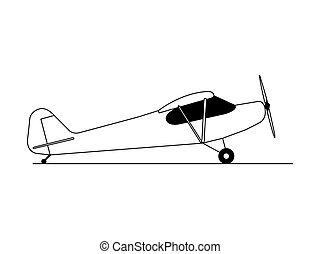 isolated., illustratie, vector, hobby, vliegtuig, zijaanzicht