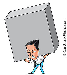 Isolated illustration Businessman raising an enormous weight