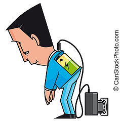 Isolated illustration Charging businessman with low battery